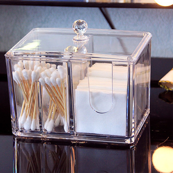 Feiqiong New Acrylic Cotton Swab Makeup Box Portable Clear Make Up Container Cotton Pad Holder Cosmetics Organizer Storage Box acrylic cotton swab makeup organizer storage box portable container make up cotton pad holder cosmetics organizer storage case