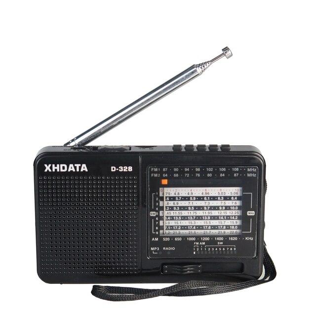 XHDATA D 328 noir Portable Radio AM FM SW 12 bandes avec lecteur de musique DSP/MP3 et fente pour carte TF emballé avec batterie Rechargeable