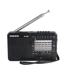 XHDATA Radio portátil D 328 con reproductor de música, SW FM Radio AM, 12 bandas con reproductor de música DSP/MP3 y ranura para tarjeta TF, paquete con batería recargable, color negro