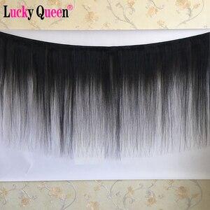 Image 2 - ラッキー女王ブラジルストレートヘアの束 100% 人毛エクステンション 3 ピース/ロット非レミーの髪織りバンドル中比