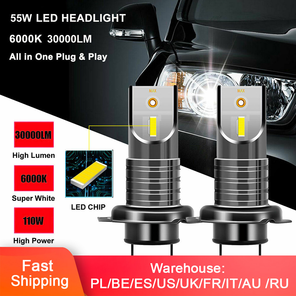 2Pcs <font><b>H7</b></font> 110W LED Car Headlight Conversion Globes Bulb Beam 6000K Hot Headlight Bulb CSP Chip LED Canbus Car Light <font><b>30000LM</b></font> image