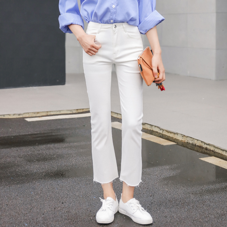 2019 Spring And Autumn WOMEN'S Jeans Slim Fit Slimming Korean-style High-waisted Elasticity Straight-Cut Capri Pants Sub-Casual