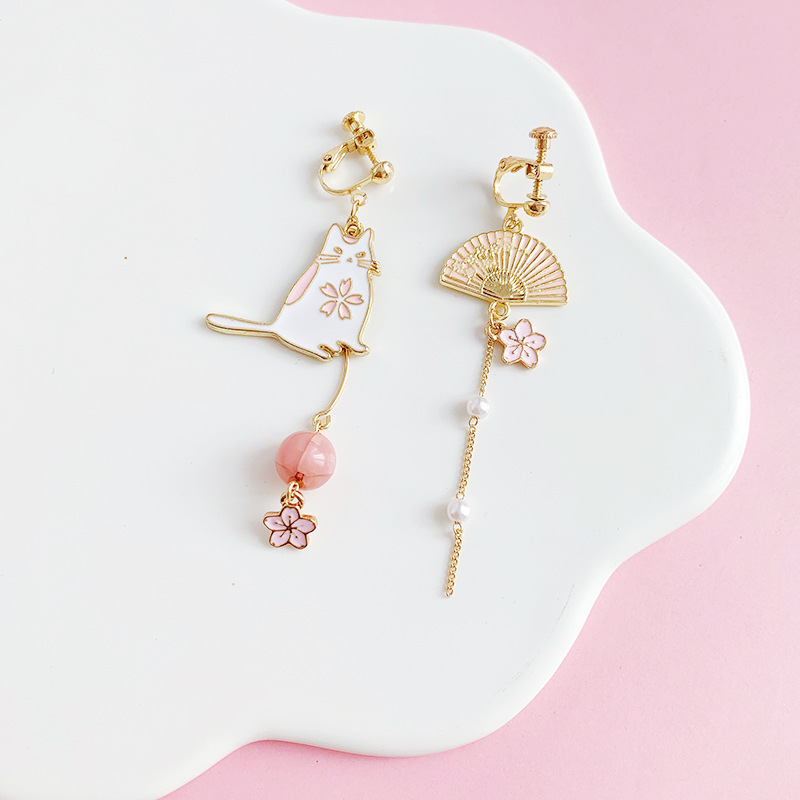 Asymmetrical Imitation Pearls Pink Skura Flower Earrings Fan Funny Cute Cat Clip on Earrings Without No Piercing for Women Girl