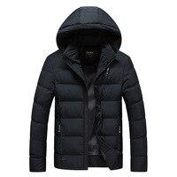 Russian Thick Cotton Men's Solid Color Hooded Coat Men's Winter Short Jacket Snow Outwear Padded Warm Parkas Men