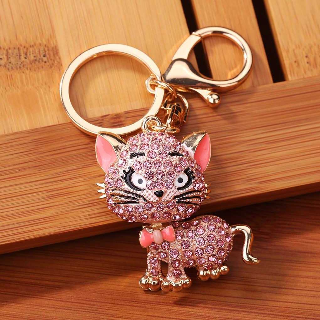 Bonito gato gatinho chaveiro strass bolsa charme pingente carro chaveiro presente gato cristal chaveiro