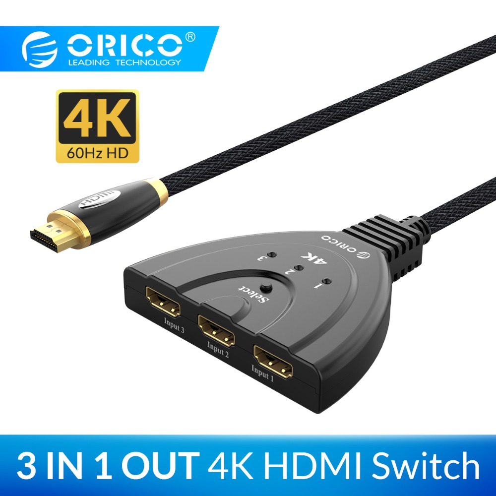 ORICO 3 Ports HDMI Splitter Adapter Cable 4K60Hz 30Hz HDMI2.0 1.4 Switch 3 In 1 Out Port HDMI Cable For Laptop Xbox TV PS3 PS4