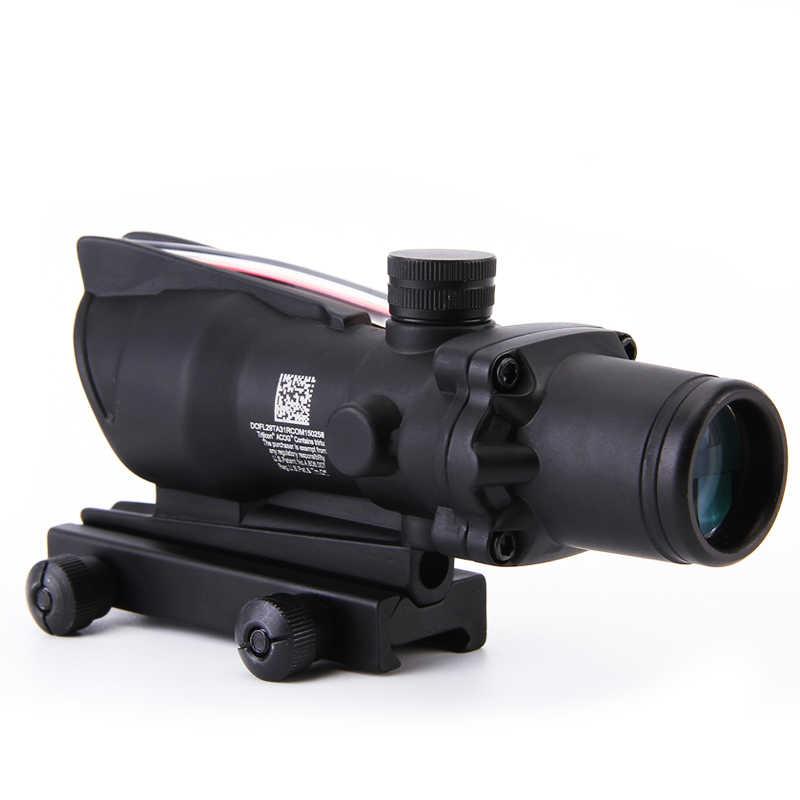 Tactical ACOG 4x32 punto rojo fibra óptica miras de caza mira telescópica pasado 20mm Rail Mount retículo Airsoft collimator vista