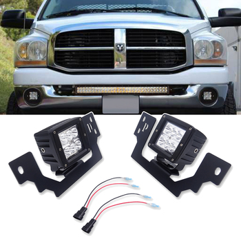 "Wsen Front Bumper Fog Light Mounting Brackets and 2x 3"" LED Cube lights For Dodge Ram 1500 2500 3500"