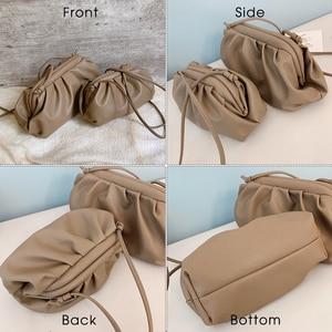 Image 4 - TTOU Fashion Elegant Clutch Evening Party Bag Women Big Ruched Pillow Bag Leather Korea Pouch Handbag White Black Bag Brand