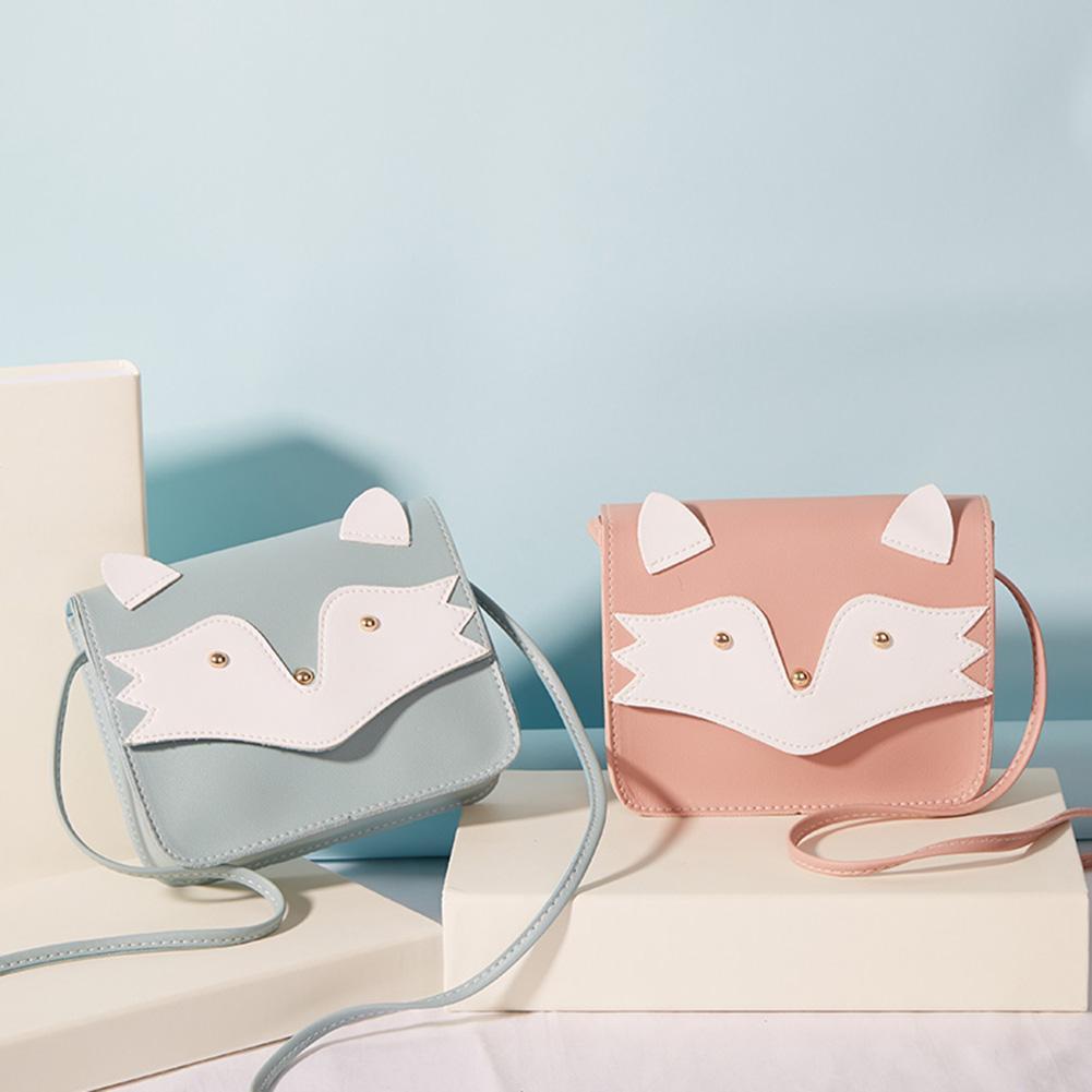 Simple Women Shoulder Bag Ladies Cute PU Leather Flip Cartoon Fox Crossbody Bags Small Square Crossbody Handbags