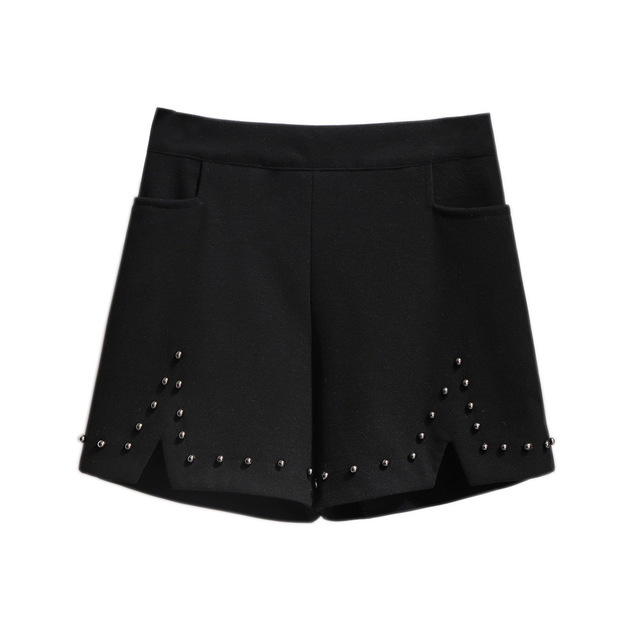 2019 autumn winter plus size shorts for women large loose elastic waist wide leg thick work wear shorts black 4XL 5XL 6XL 7XL 1