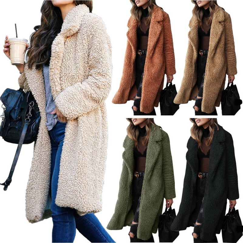 2019 Plush Coat Women Fur Lamb Thicken Winter Warm Long Sleeve Female Jackets Overcoat Outerwear Faux Fur Coat For Women -85