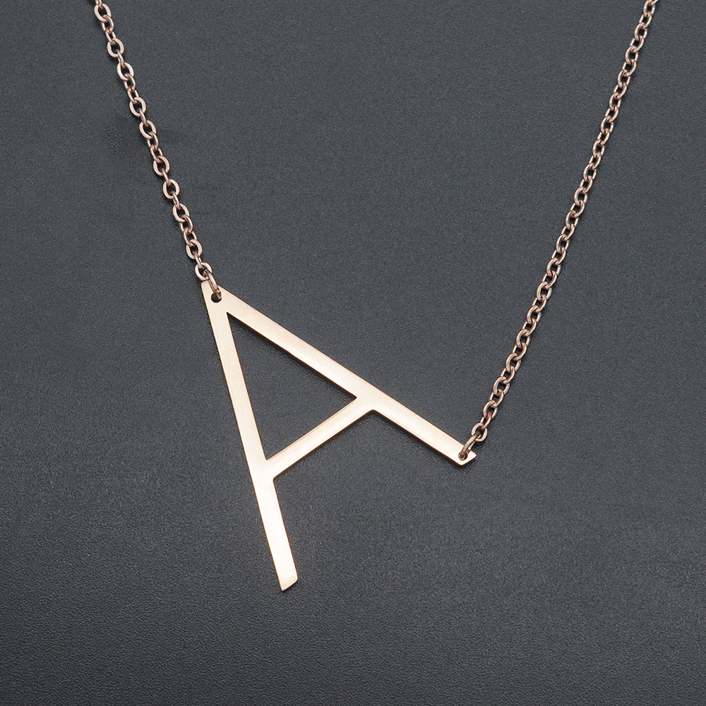 Fabulous Rose Gold Plated 100% Stainless Steel Initial Letter Pendant Necklace for Women Top Quality Fashion Jewelry Necklaces