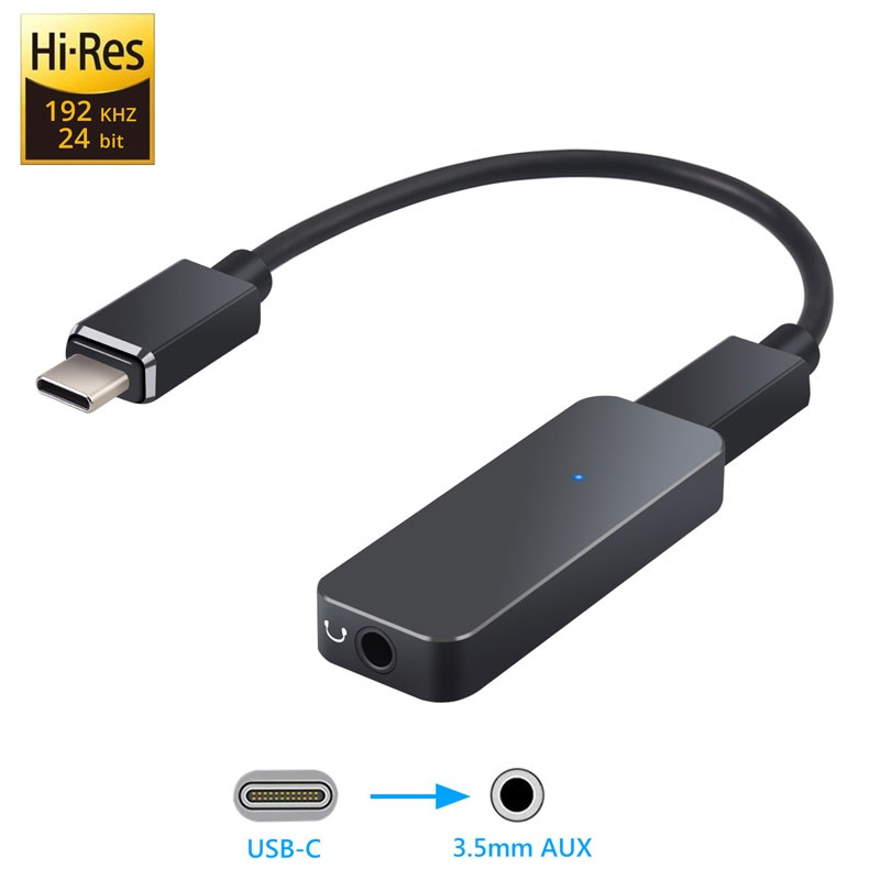192kHz USB C DAC Converter Portable HIFI Headphone Amplifier Type C To 3.5mm Earphone Adapter For Android System Smartphone