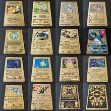 Jogo quente anime batalha pokemon cartões ouro metal gx ex cartão charizard pikachu coleção cartão figura de ação modelo criança brinquedo presente
