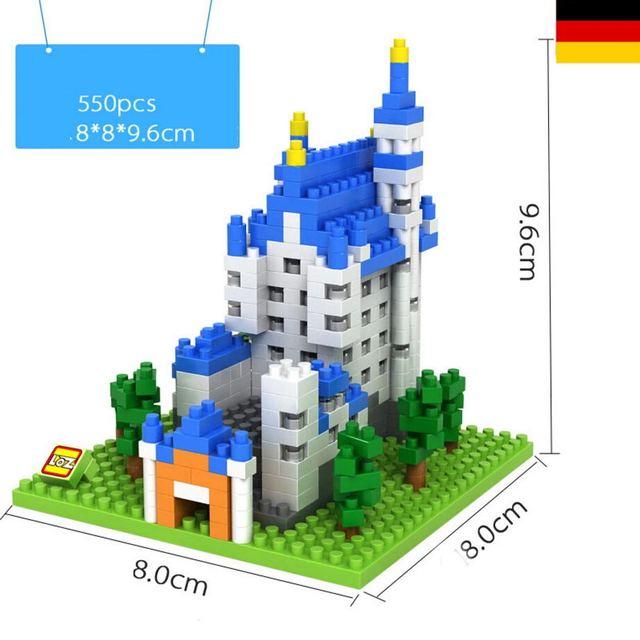 Bloques de construcción de Arquitectura de fama mundial, nuevo castillo cisne de piedra, bloques de micro Diamante, modelo nanobricks, juguetes educativos