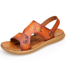 Summer Men Casual Sandals Quality Leather Shoes Male Comfortable Slip-on Slippers Beach Brown Man Sandal zapatillas hombre mvp boy men s summer beach sandals pu leather comfortable slip on casual sandals fashion men slippers zapatillas hombre 38 44