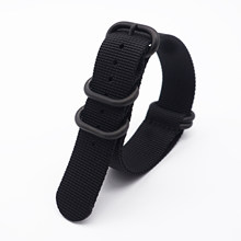 High Quality Premium Nylon Black Rings Wrist Bracelet Band NATO Zulu Watch Strap Nato(China)