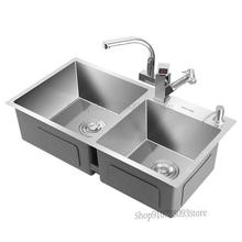 Household Kitchen Manual Sink Dual Tank 304 Stainless Steel Thickened Integrated Sink Sink Sink Sink Sink