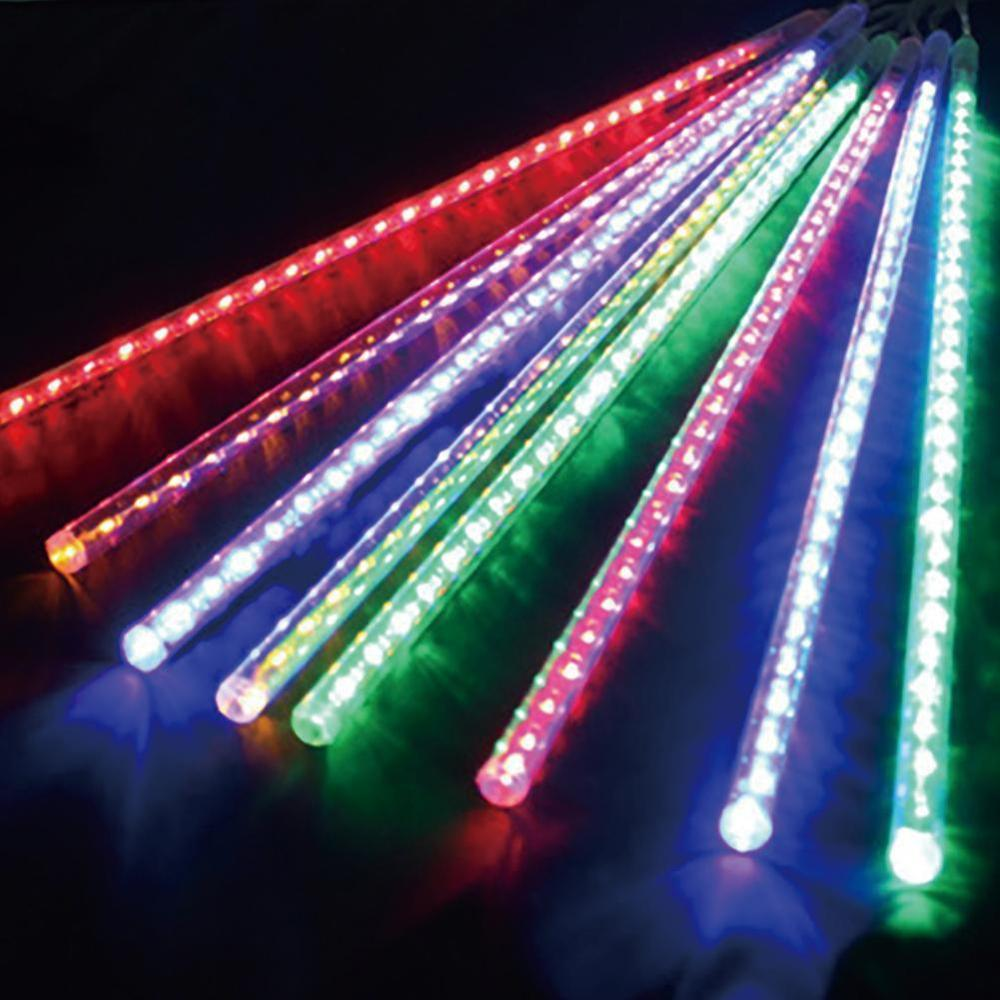 Solar LED Outdoor 8 Tube Meteor Shower Rain Lights Icicle Raindrop Snow Falling Lights Garden Patio Holiday Party Decoration