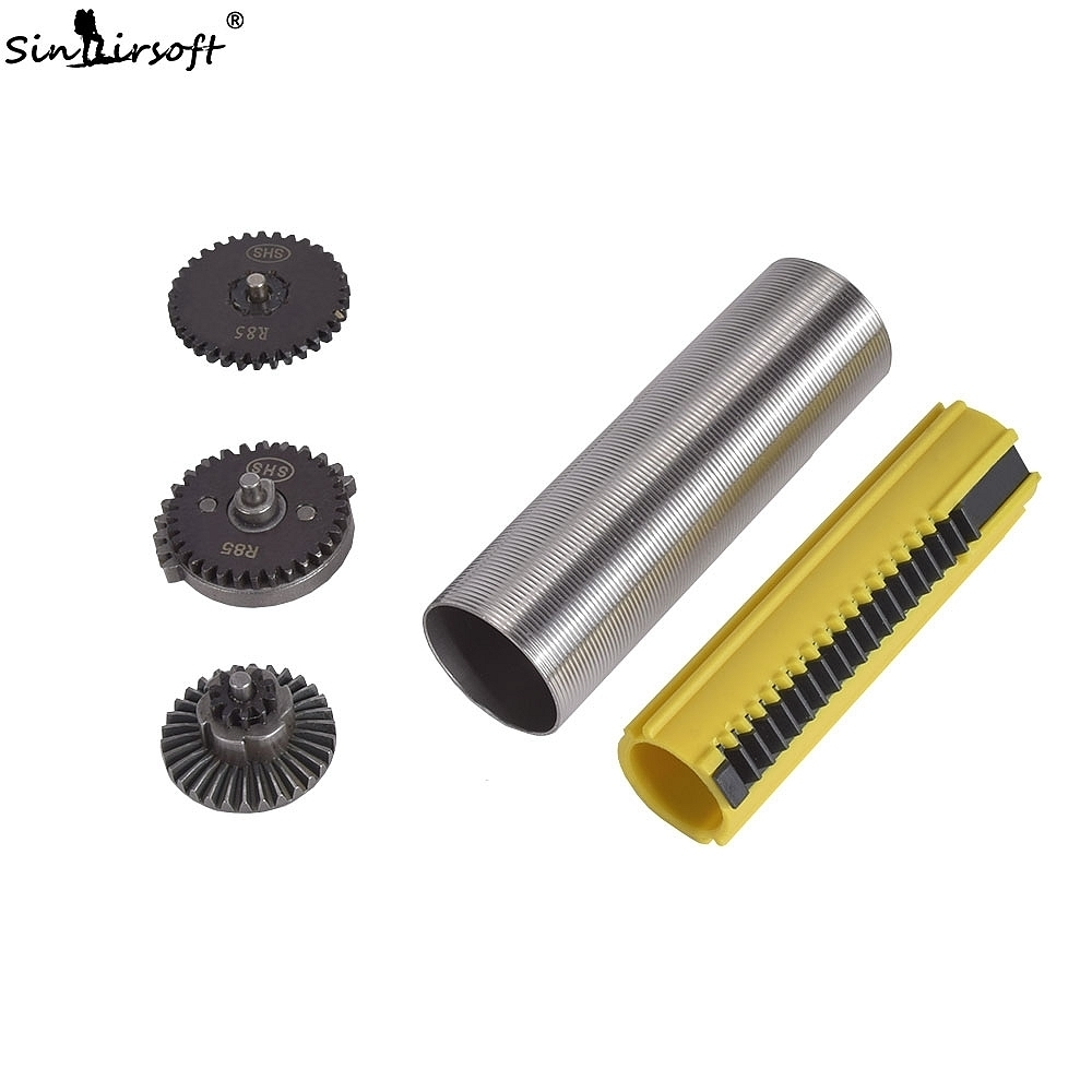 SINAIRSOFT SHS R85 Gear Set Stainless Steel Cylinder 19 Teeth Piston SR25 L85 Apply To AEG Paintball Hunting Airsoft Accessories