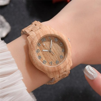 Fashion Brand Women Wood Watch Luxury Imitation Wooden Watch Vintage Leather Quartz Wood Color Watch Female Simple Clock Hot read watch women watch quartz female da vinci series r7003l