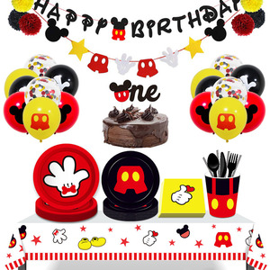 Mickey Theme Party Holiday Banner Party 8 People Disposable Plate Napkin Cup Cake Toppers For Kids Favor Flag Decoration Gifts