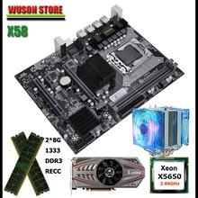 Huanzhi carte mère X58, processeur Intel Xeon X5650, 2.66GHz, avec radiateur de processeur, RAM 16 go (2x8 go) REG ECC, carte vidéo GTX750Ti 2GD5