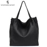 SC Luxury Genuine Leather Big Tote For Women High Quality Soft Cowhide Handbag Ladies Large Shoulder Bag Female Casual Crossbody