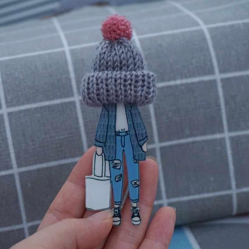 Wanita Fashion Bros Lucu Lencana Di Ransel Kawaii Akrilik Bros Pin dengan Wol Bola Wol Topi Wanita Pin Broĉo