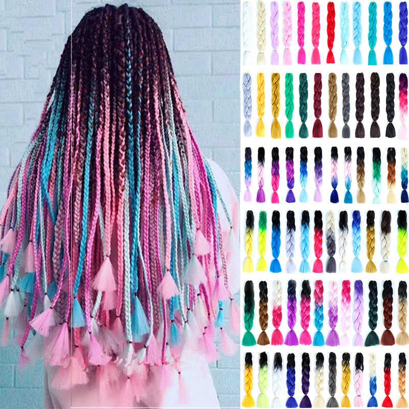 LISI волосы Джамбо косички длинные Омбре Джамбо синтетические косички волосы крючком блонд розовый синий серый волосы для наращивания африканская вязка