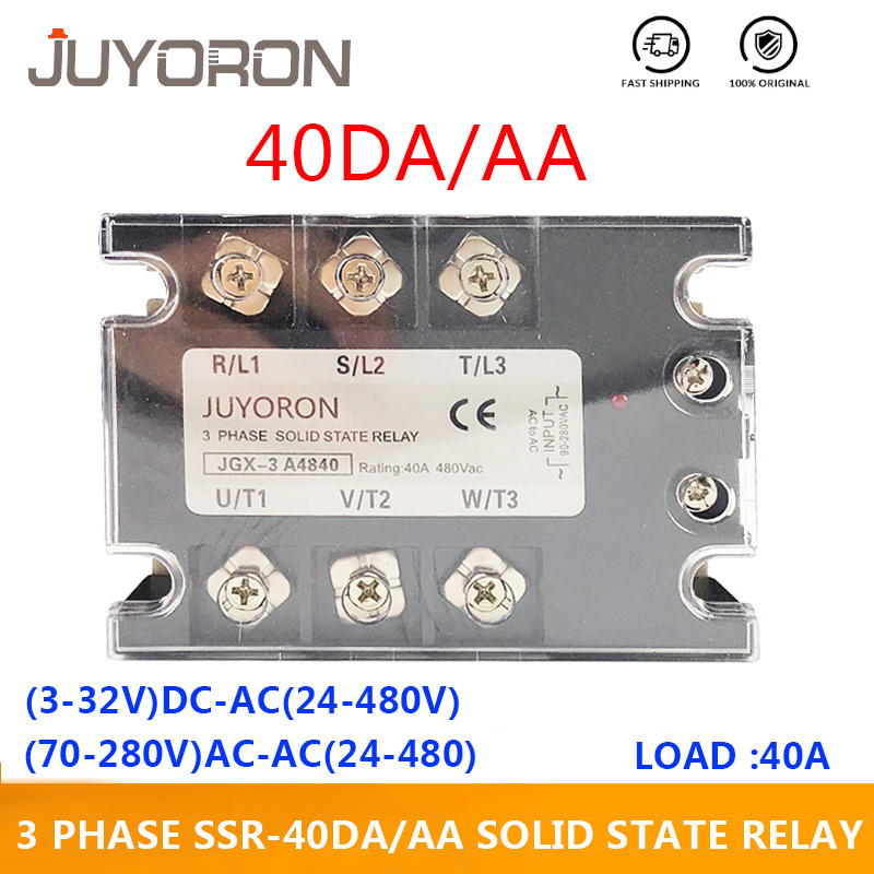 3 Phase AC Solid State Relay <font><b>SSR</b></font> <font><b>40</b></font> <font><b>DA</b></font>/AA 3-32VDC/70-280VAC Three Phase Module Switch Output 24-480VAC for Automation System image