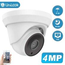 UniLook 4MP POE IP Security Camera Outdoor Onvif H.265 Turret Dome CCTV Surveillance IR 30m P2P Plug&play with Hikvision NVR