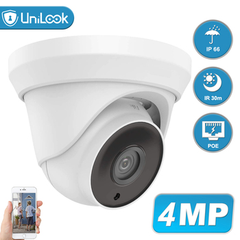 UniLook 4MP POE IP Security Camera Outdoor Onvif H.265 Turret Dome CCTV Surveillance IR 30m P2P Plug&play with Hikvision NVR hikvision ds 2cd3135f i chinese version h 265 3mp dome ip camera ir 30m support onvif poe security camera