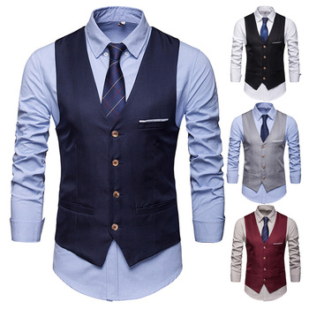 Men Formal Business Slim Fit Work Party Dress Vest Suit Tuxedo Casual Waistcoat New Fashion