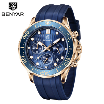 NEW BENYAR Fashion Mens Watches Top Brand Luxury WristWatch Quartz Blue Watch Men Waterproof Sport Chronograph Relogio Masculino megir luxury brand men silicone sports watches 2020 fashion army watch man chronograph quartz wristwatch relogio masculino 2161