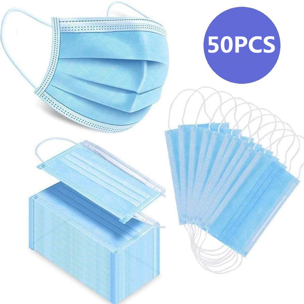 50 Pcs Disposable Mouth Face Mask 3 Layer Filter Masks Anti Dust Droplet Pollution Epidemic Protection Mask PM 2.5 Respirator