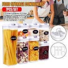 Airtight Food Storage Box Plastic Clear Container Set with Pour Lids Kitchen Storage Bottles Jars Dried Grains Tank 1.9L