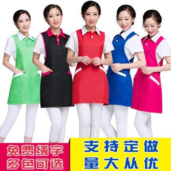 Beauty salon manicure makeup artist work clothes apron Coffee milk tea shop maternal and child shop staff custom logo цена 2017