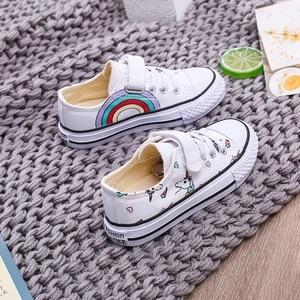Image 5 - 2020 אופנה לפעוטות ילדים Unicorn בד סניקרס קשת גופר נעלי פוני פעוט נעלי ילדים גדולים נעלי בנות שטוח הנעלה