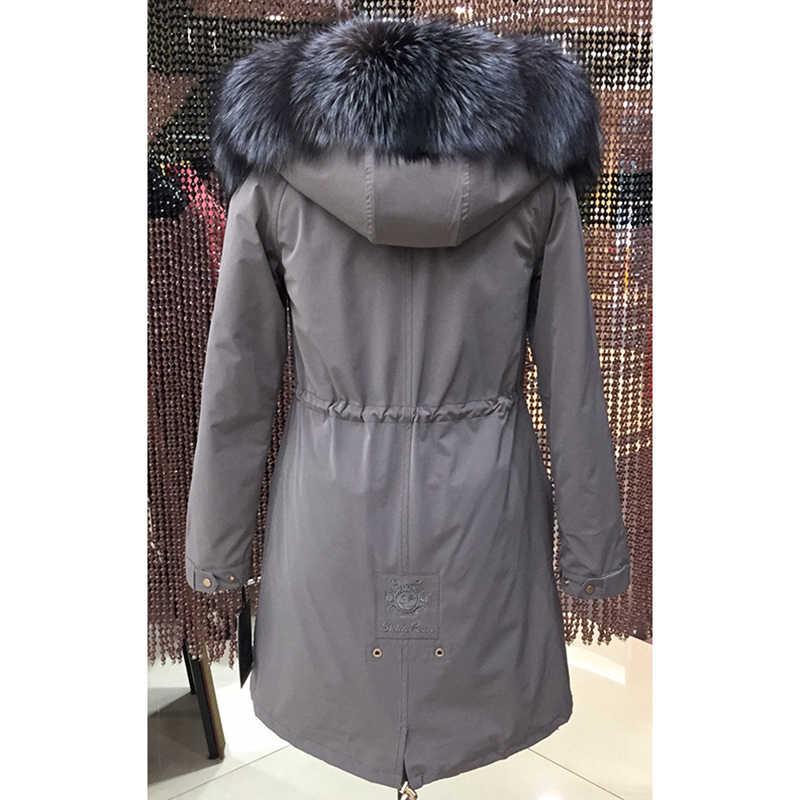 Frauen winter parka mantel jacke fuchs waschbär kragen abnehmbare kaninchen pelz liner klassische 93cm länge qualität stoff 16079 D02