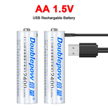 1.5V AA Rechargeable Battery 2400mWh USB Rechargeable Li ion Batteries for remote control mouse Electric toy battery USB Cable