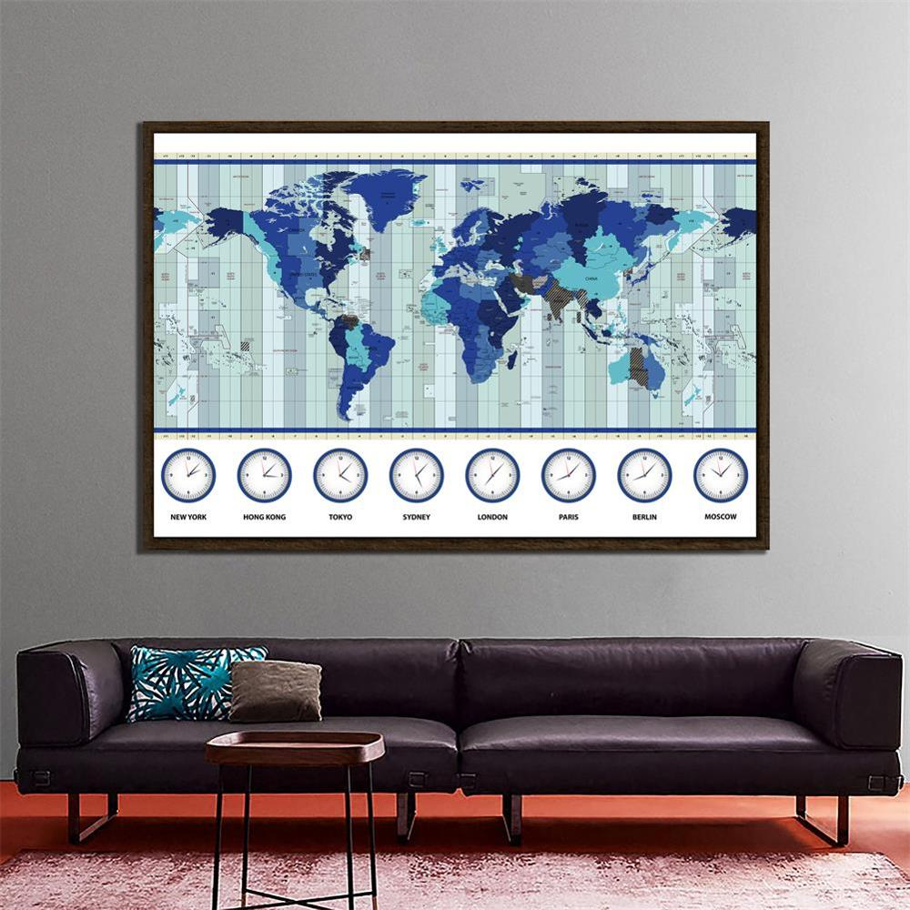 150x225cm Non-woven World Map Time Zone Map For Education And Learner