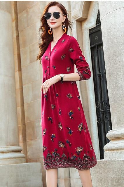 ZUOMAN New red wool knitting dress female autumn/winter 2020 v is gotten loose long hair dress knee-length dress 3