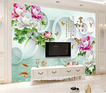Jade Peony Flowers and Birds Koi and Rich Wall Mural Living Room Sofa TV Backdrop Wall Wallpaper