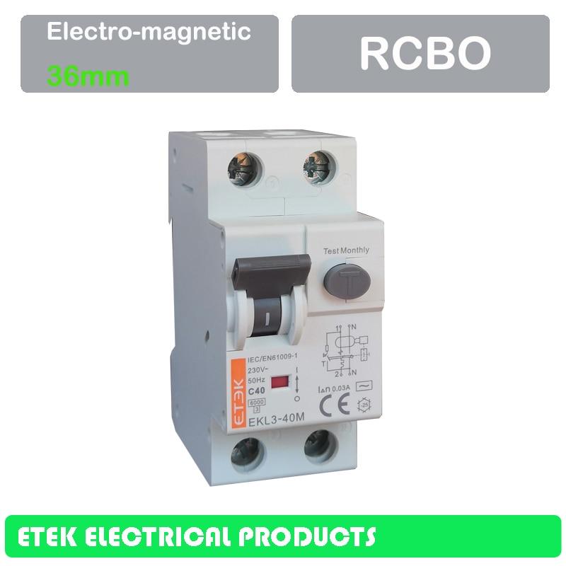 EKL3-40M 2P(1P+N) 30MA 100MA 300MA AC type 230/240V~ 50HZ/60HZ RCBO  6A 10A 16A 20A 25A