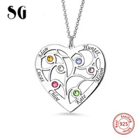 Personalized Genuine 925 Sterling Silver Heart Family Tree Necklace Custom Name& Birthstones Gifts For Mother Free shipping