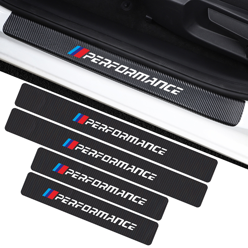 4PCS Auto Carbon Fiber Door Threshold Plate Protector Sticker For BMW X1 X3 X5 E46 E36 E39 E60  E90 E92 E93 F20 Car Accessories