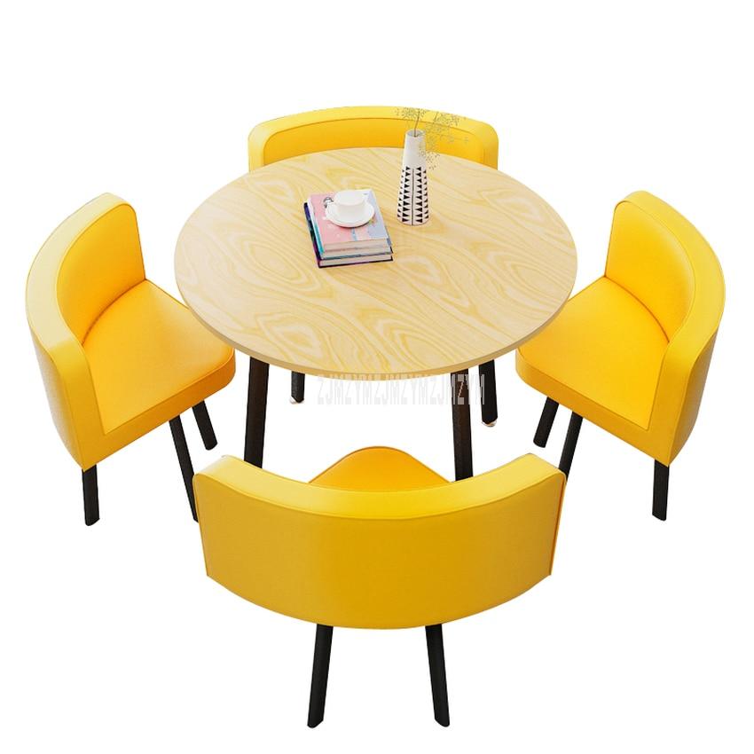 80 см/70 см Четырехместный журнальный столик со стулом, комбинированный стол для переговоров, набор для приема напитков, Круглый Чайный