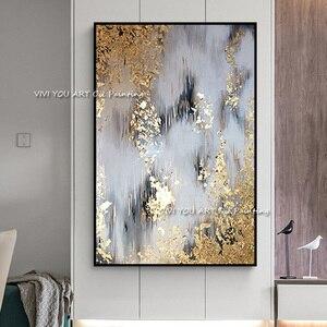 Image 3 - 2019 新 100% ハンド塗装抽象アートウォールピクチャー手作りゴールデンツリーキャンバス用ホーム装飾